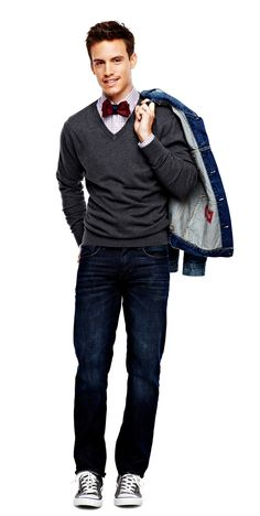 jcp v-neck sweater, slim-straight jeans, and trucker jacket