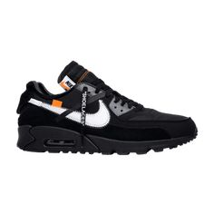 Shop OFF-WHITE x Air Max 90 'Black' - Nike on GOAT. We guarantee authenticity on every sneaker purchase or your money back. Nike Air Shoes, Nike Air Max, Air Max 90 Black, Air Max 90 Premium, Nike Trainers, Buy Shoes, Men's Shoes, Shoes Sneakers, Designer Clothes For Men