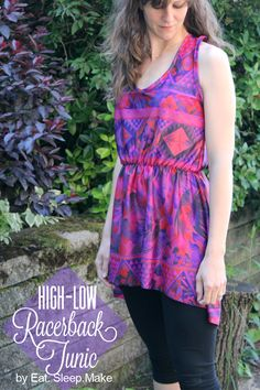 A tutorial showing you how to sew a women's high-low racerback tunic. This sewing tutorial will walk you through all of the details, from drafting to finish.
