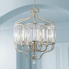 Illuminate your decor with this transitional antique soft silver and crystal chandelier from the Vienna Full Spectrum collection of pendants. 28 high x wide. Canopy is 5 wide. Style # at Lamps Plus. Chandelier Lighting Fixtures, Crystal Pendant Lighting, Silver Chandelier, Kitchen Chandelier, Kitchen Pendants, Chandelier Pendant Lights, Light Fixtures, Crystal Chandeliers, Ceiling Pendant