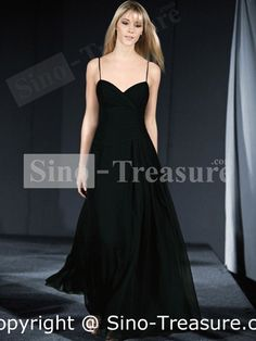 Black elastic, woven, satin, chiffon, V-neck, ruffle evening dress.