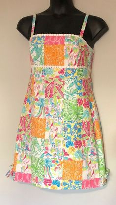 bb38d6df7c4b73 Lilly Pulitzer 12 Dress Womens Patchwork Strappy Pink Green Blue Lined  80449 #LillyPulitzer #ShiftDress