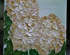 Cream Hydrangea Flowers Painting Palette Knife Technique Painting. Size 12 x 12.