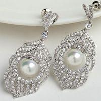 Jewelry Accessories Drop Earrings Luxury Cubic Zirconia Fashion Wedding Silver Long Earrings For Women Nickel, Cadmium free
