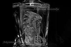 engraved glass indian face