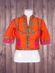 Silk Orange Wonderful Ready Made Blouse