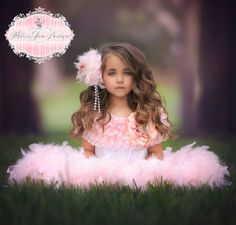 Pretty In Pinks Girls Feather Ruffled Dress by MelissaJaneBoutique