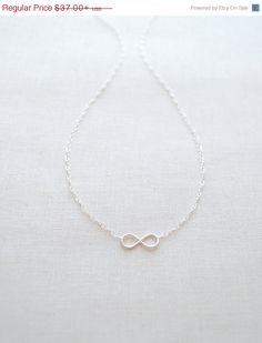 ON SALE Tiny Handmade Silver Infinity Necklace - 1223