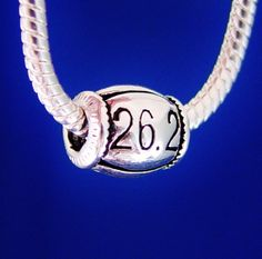 Jog Run Race 26.2  European Charm Bead Silver Plated by rbargains, $9.95