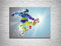 CANVAS PRINT Snowboarding Abstract Art, Sports Illustration Art, Sports Decor, Abstract Digital Watercolor painting, Contemporary Drawing by KatiaSkye on Etsy Sports Art, Sports Decor, Graffiti, Street Art, Sports Drawings, Man Cave Art, Frozen, Snowboarding, Large Prints