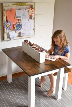 DIY Kid's Farmhouse Table - Our Handcrafted LifeYou can find Kid furniture and more on our website.DIY Kid's Farmhouse Table - Our Handcrafted Life Kids Art Table, Kid Table, Study Table For Kids, Toddler Art Table, Toddler Bed, Kids Table And Chairs, Diy Kids Furniture, Furniture Projects, Furniture Design