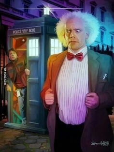 This is the best Doctor Who and Back to the Future mashup illustration i have seen so far which is featuring Doc Brown as The Doctor and Marty as his companion. Via: /Film Related Dr Who, Marty Mcfly, John Barrowman, Matt Smith, Sherlock, Science Fiction, Doc Brown, Hemlock Grove, Fandom Crossover