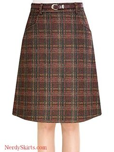 288c9edba9 Women's Vintage Plaid A-Line Wool Blend Strecthy Office Midi Pencil Skirt  with Pockets