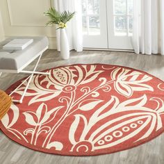 Safavieh Indoor/ Outdoor Courtyard Red/ Natural Rug ($153) ❤ liked on Polyvore featuring home, rugs, red, non skid area rugs, safavieh rugs, non skid rugs, floral rug and oversized area rugs