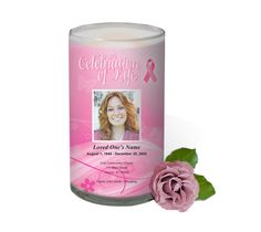 3x6 Glass Candles : Breast Cancer Awareness Custom Photo Memorial Glass Candle 3x6