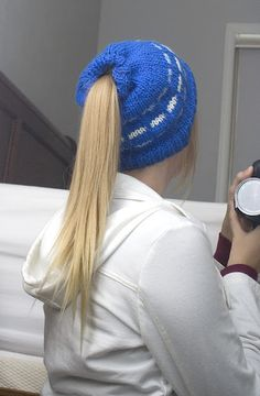 Girls with long hair rejoice!  Winter knit hat with a pony tail hole.  Super Christmas gift.