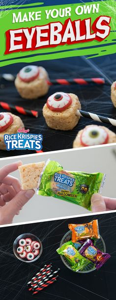 """Eye"" scream, you scream, we all scream for eye balls! Looking for a treat as delicious as it is creepy? Then feast your eyes on these easy-to-make Rice Krispies Treats #Halloween edible decorations. Ingredients:  - Rice Krispies Treats - Large candy eyeballs - Halloween paper straws"