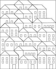 (7) Name: 'Quilting : Hillside Houses Coloring Sheet