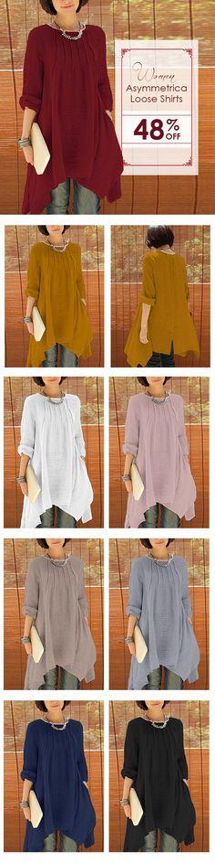 Women Long Sleeve Pure Color Asymmetrica Loose Shirts