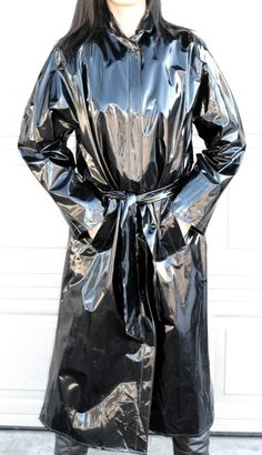 Shiny black Vinyl Raincoat