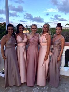 Multiway Bridesmaid dresses by Goddess By Nature | www.goddessbynature.com Shop them online. #bridesmaids #multiwaydress #wrapdress #bride #weddinginspiration