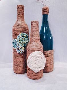 Hey, I found this really awesome Etsy listing at… Twine Wine Bottles, Twine Wrapped Bottles, Wine Bottle Art, Wine Bottle Crafts, Bottles And Jars, Mason Jar Crafts, Glass Bottles, Mason Jars, Wine And Liquor