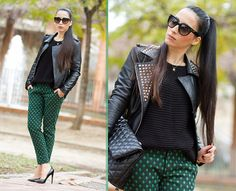 STUDDED LEATHER BIKER JACKET and GEOMETRICAL PANTS - WOWS       .