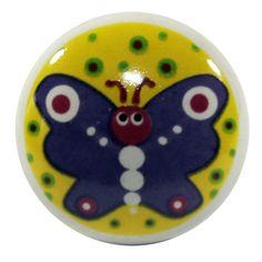 Möbelknopf Schmetterling; Maße gesamt 3,7 x 5,5 cm, bemalte Keramik, Gewindestange zur Befestigung M4 (4mm)