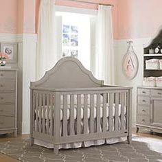 Ava Grey Convertible Crib by Bassett Baby. Saw this at BuyBuy Baby. Great lines and beautiful finish. So into grey right now...
