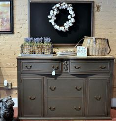 Weathervane painted buffet/sideboard server by @urban farmhouse finishes.  Painted in Weathervane (dark bronze) Wise Owl Chalk Synthesis Paint