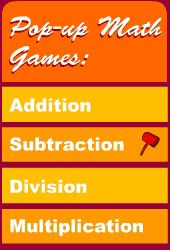 Math games for addition, subtraction, multiplication, and division.