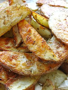 Rosemary Thyme Oven Fries 3 large Russet potatoes, cut lengthwise 1 tsp. kosher salt 1 tsp. dried rosemary 1 tsp. dried thyme 1/2 tsp. garlic powder 2 Tbsp. olive oil Instructions 1. Preheat oven to 400 degrees F. Line a large baking sheet with foil for easy cleanup, and spray with non-stick cooki...