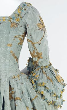Detail of Robe à l'Anglaise (back), 1770–75, British, silk, metal (c) Metropolitan Museum of Art