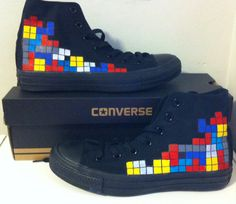 Custom Converse Tetris handpainted sealed your by whimsybykelly, $100.00