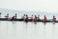 Badger novice men racing on a perfect day on Lake Mendota