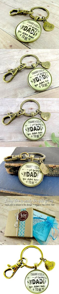 """Thank You for Being the Dad You Didn't Have to Be Step Dad Father Keychain Hipster 1.20"""" Glass Round Key Chain Wedding Day Gift"""