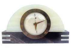 Art Deco Onyx & Brass Mantle Clock