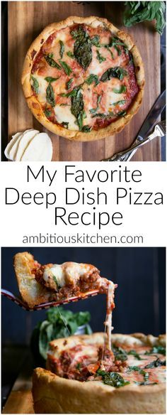 Delicious Chicago-style deep dish pizza with a beautiful, absolutely addicting crust. Use any toppings you'd like!