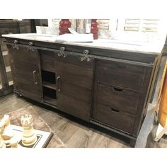 Cocoa finished Barn Door Double Vanity with a Marble TopStunning Vanity for your home featuring sliding Doors, doors slide from one side to the center. The Center part of the Cabinet has 2 drawers with a center shelf. Cutting Board Material, Bowl Sink, Vanity Sink, Wood Construction, Marble Top, Small Rooms, Bars For Home, Entertainment Center, White Porcelain