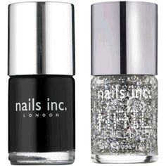 Nails Inc Black Taxi & Diamond Arcade ($29) ❤ liked on Polyvore featuring beauty products, nail care, nail polish, nails, makeup, beauty, accessories, fillers, women and black sparkle nail polish