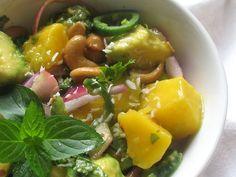 Avocado Mango Salad with Cilantro and Roasted Cashews