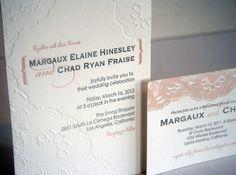 Vintage Lace Letterpress Wedding Invitation Set by SteelPetalPress