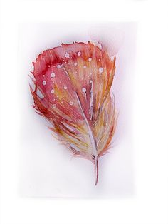 Coral feather in watercolor Watercolor painting of by rakla