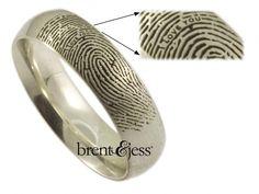 Secret Message Fingerprint Ring in sterling silver