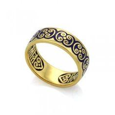Православное кольцо с эмалью КПЭ003-1 ручной работы выполненное из серебра с позолотой