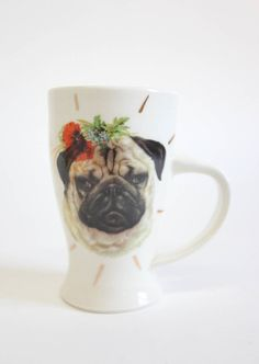 Romantic Pug Party Animal Mug - Dog Pottery Roses