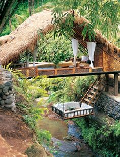 """Located in the forest, close to Ubud, Bali-Indonesia, is the breathtaking Panchoran Retreat. It is inspired by nature, creating environments it is difficult to distinguish the interior from exterior. Only recycled or sustainable materials were used to create this haven. This private hideaway has 6 houses scattered amongst nature with magical views of the valley and bamboo forest."""