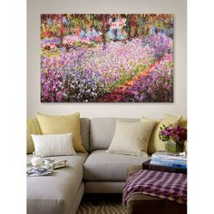 """iCanvas """"Jardin De Giverny"""" by Claude Monet Painting Print on Wrapped Canvas"""