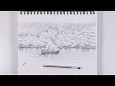 تعلم كيف ترسم سفينة وغيوم بالقلم الجاف الاسود Landscape Drawings Tapestry