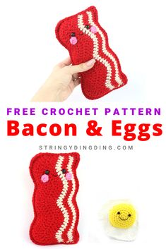 cute crochet Bacon and Eggs Free Amigurumi Pattern. Make a really cute bacon and don't forget to make it's friend - an egg! Visit us for free amigurumi crochet patterns. Kawaii Crochet, Crochet Food, Crochet Gifts, Cute Crochet, Crochet Baby, Knit Crochet, All Free Crochet, Booties Crochet, Crochet Patterns Amigurumi